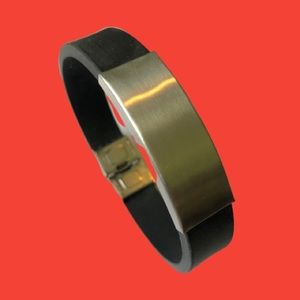 """Black Rubber and Stainless Steel 8.5"""" Bracelet"""